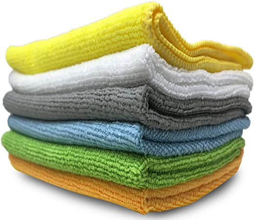 Stack of six, multi colored, microfiber towels